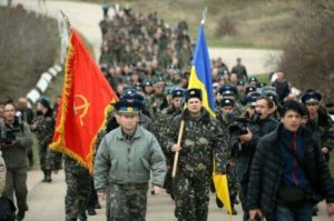 march of unarmed Ukrainian soldiers